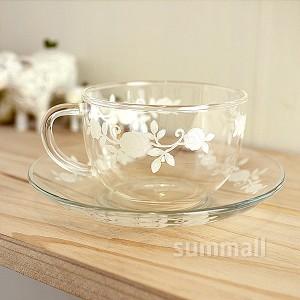코지 화이트로즈 컵 and 받침세트