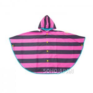스트라이프 아동 판쵸 핑크비옷
