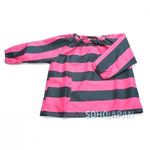 체크 아동 방수 상의 핑크