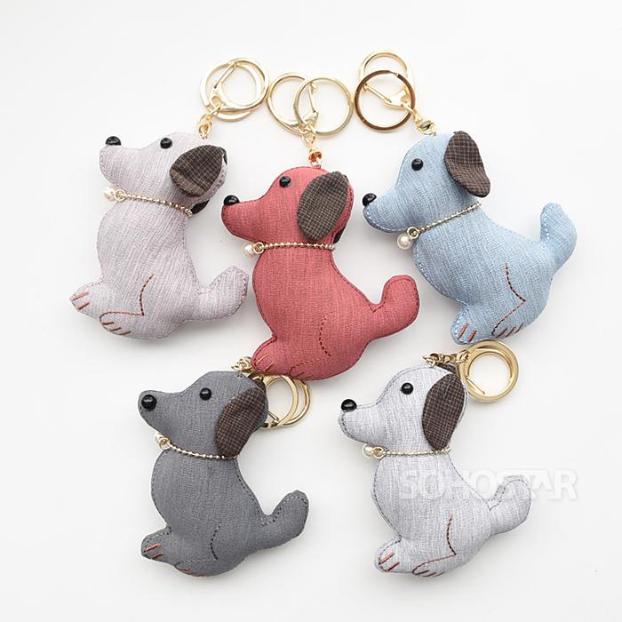 패브릭 열쇠고리(강아지 진주)