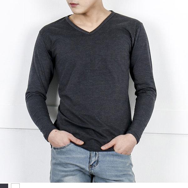 DGI1821 남자기본브이긴팔면티셔츠