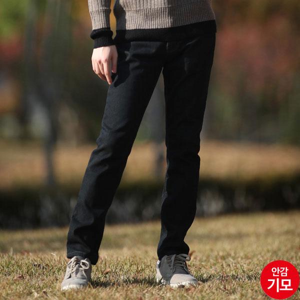 AMM927-1 남자블랙겨울본딩청바지