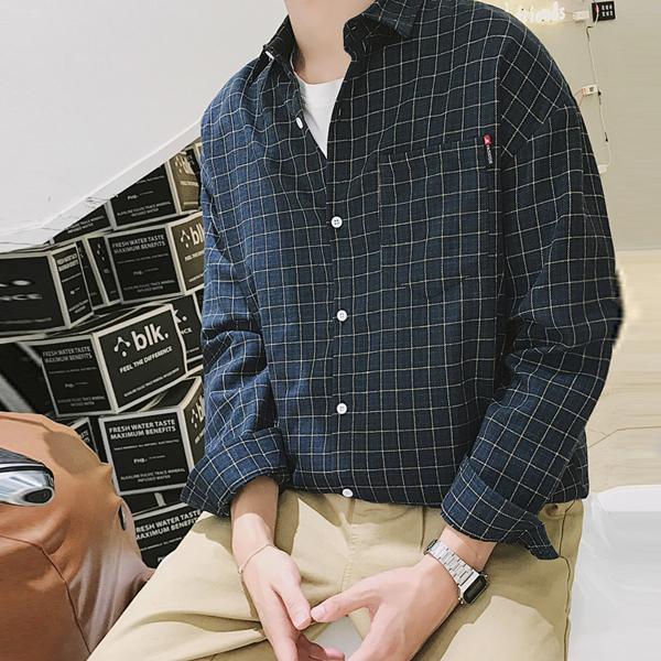 KAA 597 남자사각줄무늬남방셔츠