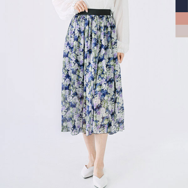 KYI 80905 여자꽃무늬밴딩스커트