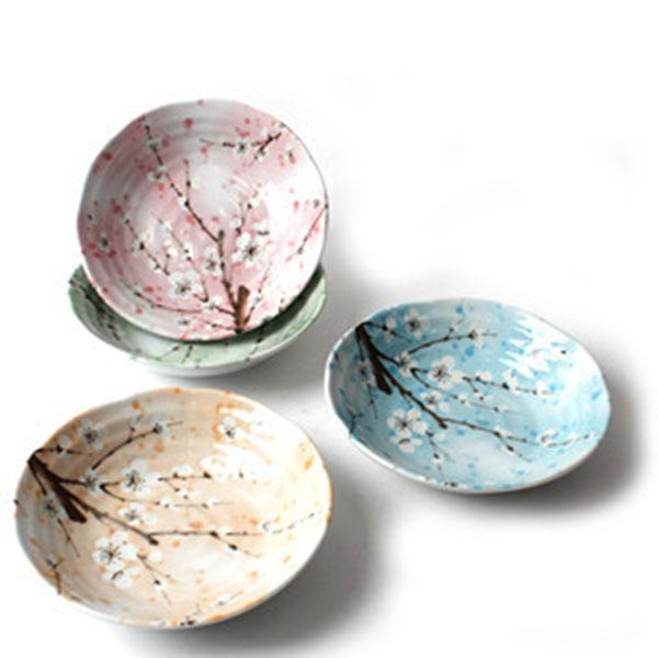 일본도자기 사색매화 접시 4p세트
