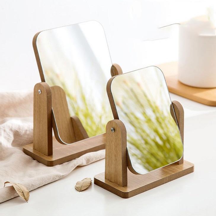 온나 우드 소형 메이크업 탁상 거울 스탠드