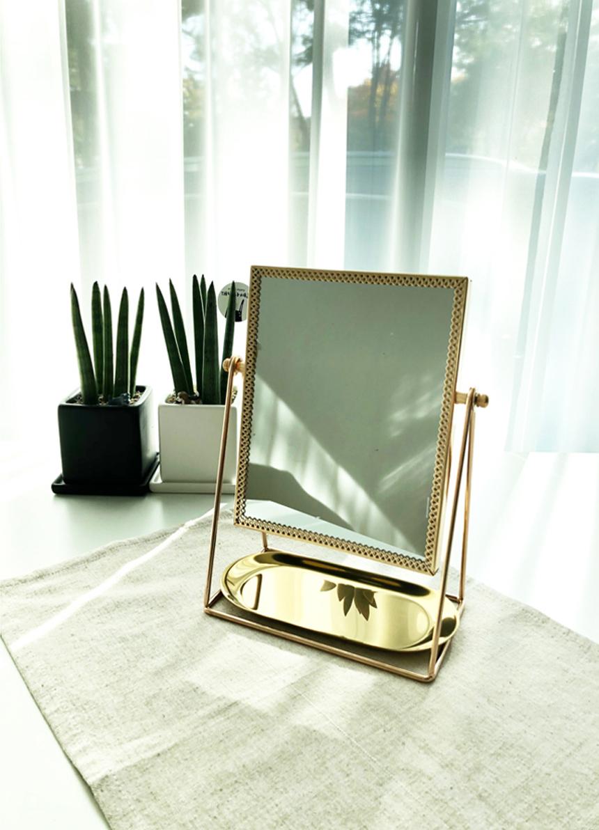 골드프레임 화장대 스탠드 직각거울