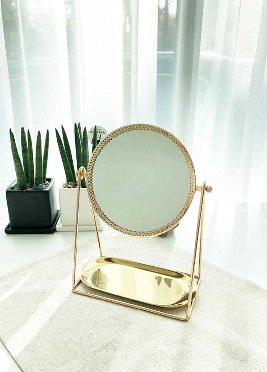 골드프레임 화장대 스탠드거울 원형거울