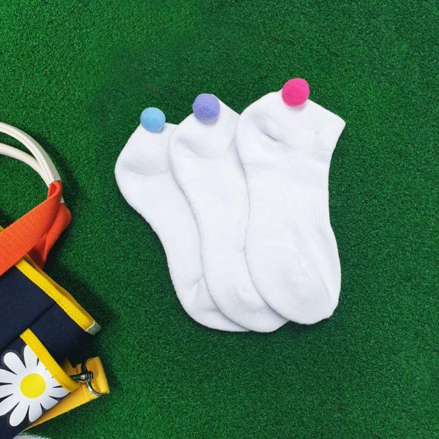 여성 골프 폼폼 방울 양말 삭스