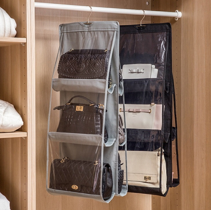 6포켓 가방수납 보관함 핸드백 정리함 2color