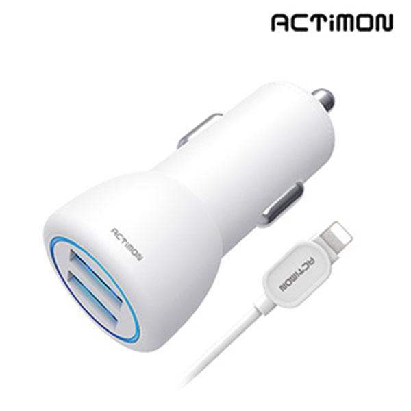 엑티몬 8핀 USB2포트 차량용 충전기 5V 2.4A MON-C2-242-8P