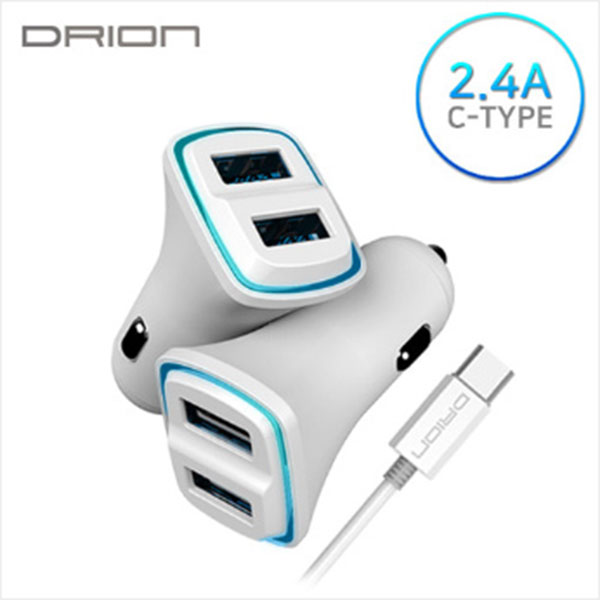 드리온 C타입 LED USB2포트 차량용 충전기 5V 2.4A