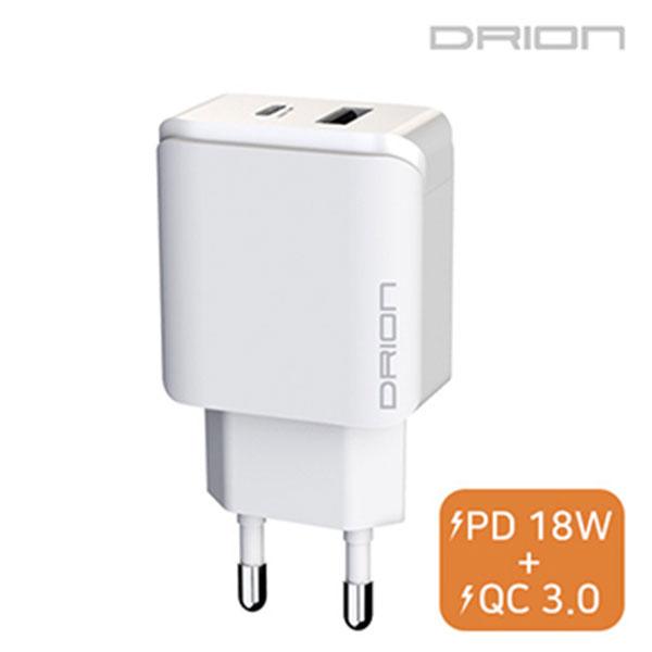 드리온 PD 18W C1구/ USB1구 가정용 충전기 케이블미포함 / DR-TC1-PD18W