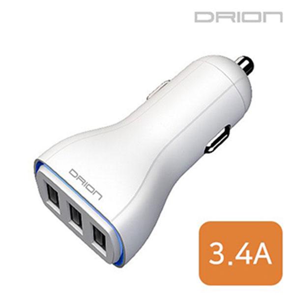 드리온 USB3포트 차량용 충전기 3.4A 케이블미포함 DR-C3-343