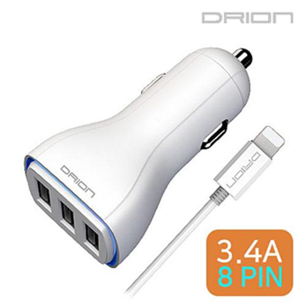 드리온 USB3포트 차량용 충전기 3.4A 8핀 DR-C3-343-8P
