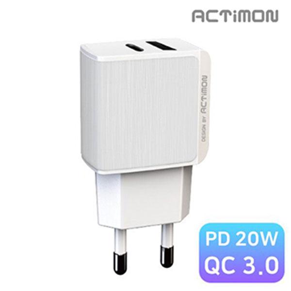 엑티몬 PD 20W C1구/ USB1구 가정용 충전기 케이블미포함 / MON-TC1-PD20W