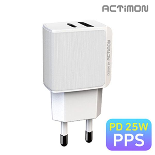 엑티몬 PD 25W C1구/ USB1구 가정용 충전기 케이블미포함 / MON-TC1-PD25W