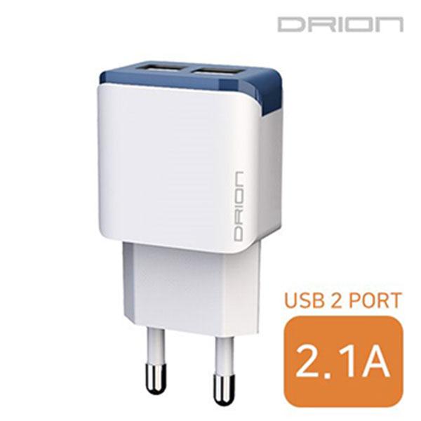 드리온 USB2포트 가정용 충전기 2.1A 케이블미포함/DR-TC1-212