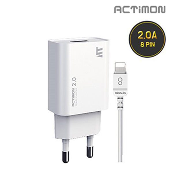 엑티몬 8핀 USB1구 가정용 충전기 2.0A MON-TC3-211-8P