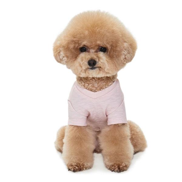 베니즈 포켓 브이넥 티셔츠 핑크