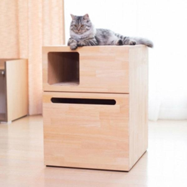 복층형 원목 고양이화장실