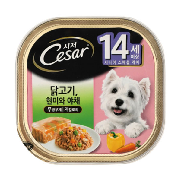 시저 14세이상 닭고기 현미와 야채 캔 100g