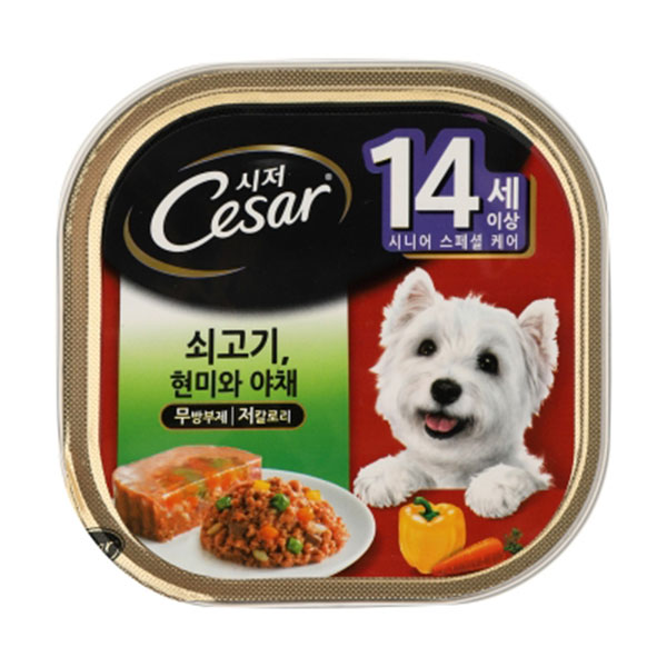 시저 14세이상 쇠고기 현미와 야채 캔 100g