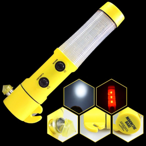 5기능 LED경광봉/경광봉+손전등+비상용유리망치+비상용안전벨트컷팅+자석부착식 10EA