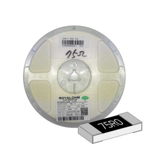 SMD 칩저항 1206(3216) 1/4W 1%(F급) 75옴 1릴(5,000개)