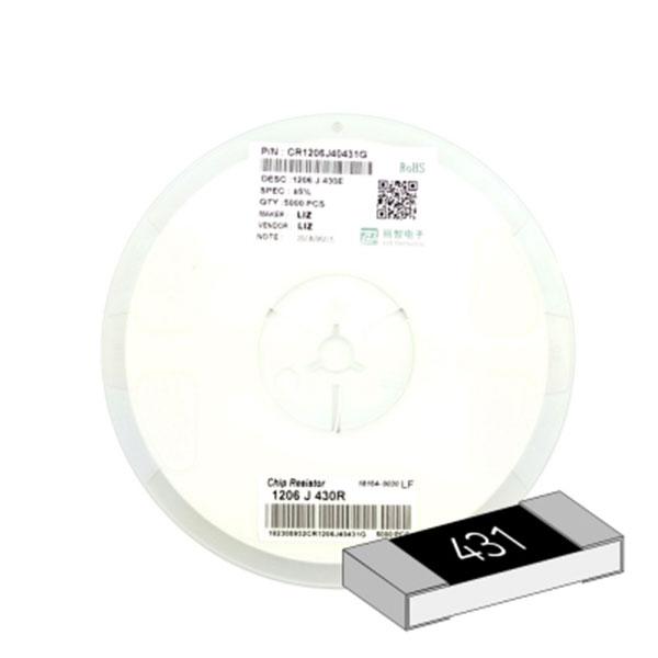 SMD 칩저항 1206(3216) 1/4W 5%(J급) 430옴 1릴(5,000개)