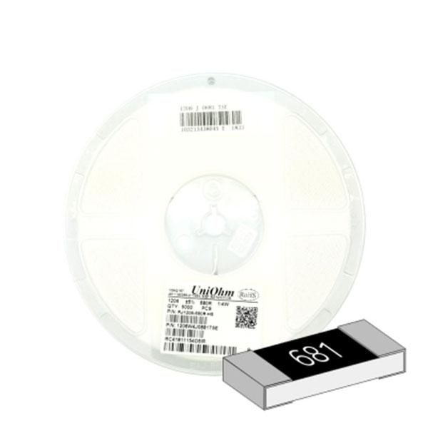 SMD 칩저항 1206(3216) 1/4W 5%(J급) 680옴 1릴(5,000개)