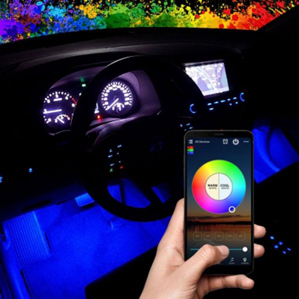 12V용 RGB 무선 블루투스 컨트롤 LED바 풋등 키트 세트 / 시거잭 간편연결