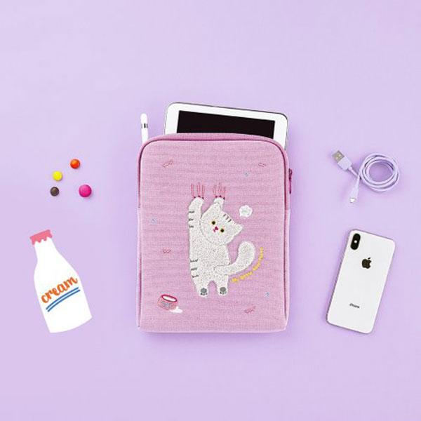 안테나샵 iPad POUCH WATERPROOF CANVAS_Milk cat