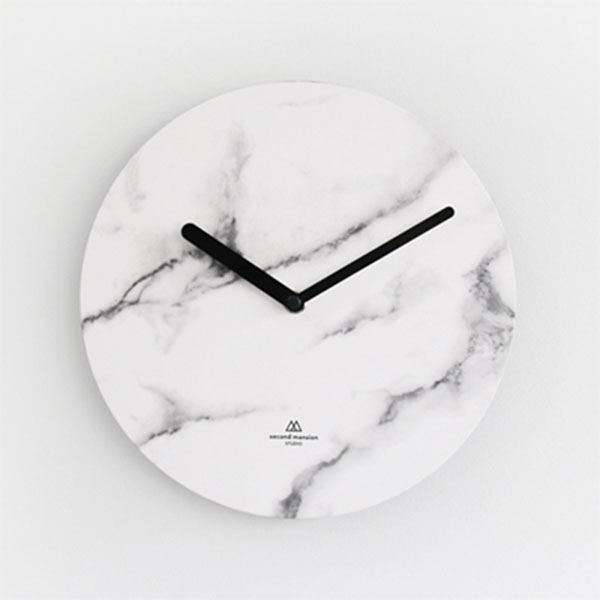 OBJECT CLOCK_WHITE MARBLE