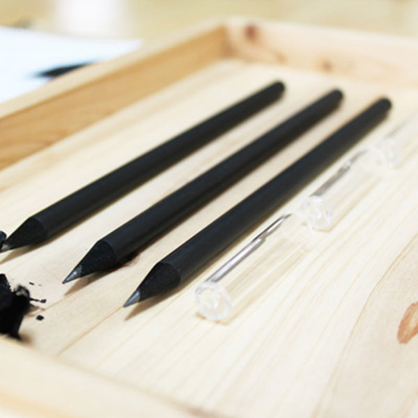 블랙나무연필 + 연필캡 세트