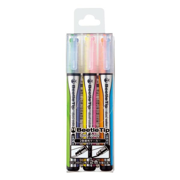 비틀팁 2색칼라 형광펜 3색세트