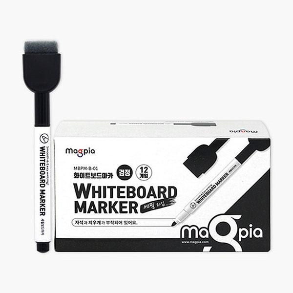 New 화이트보드 마카펜 블랙 MBPM-B-01 12개입