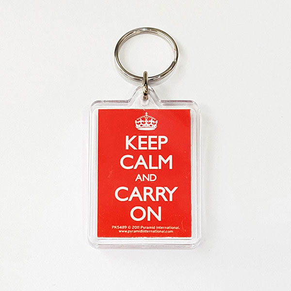 PK5489 아크릴 키링 KEEP CALM AND CARRY ON RED