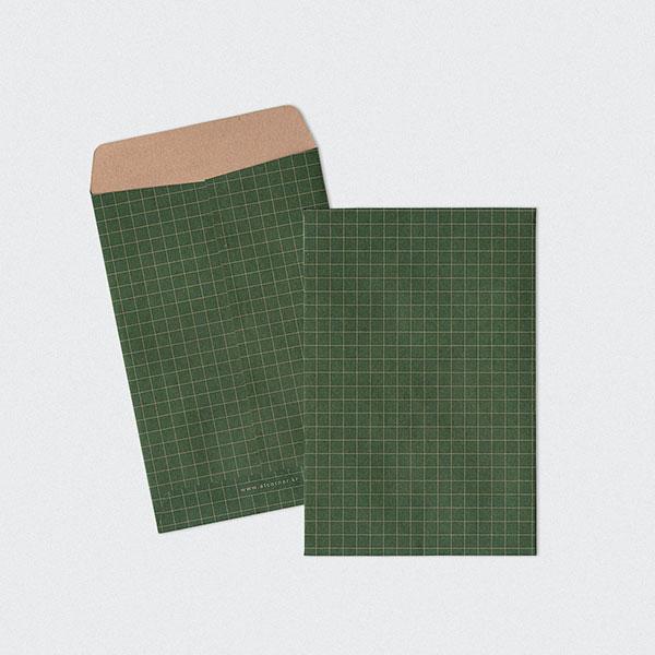화환카드용 크라프트 체크그린 봉투 5매