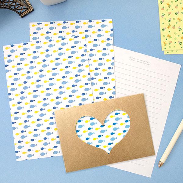 NEW 하트 포인트 패턴 편지지 9종세트